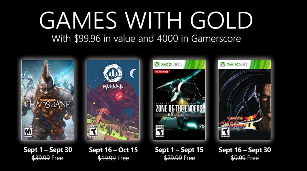 All September Games With Gold Titles are Free for Gold Members via Xbox.