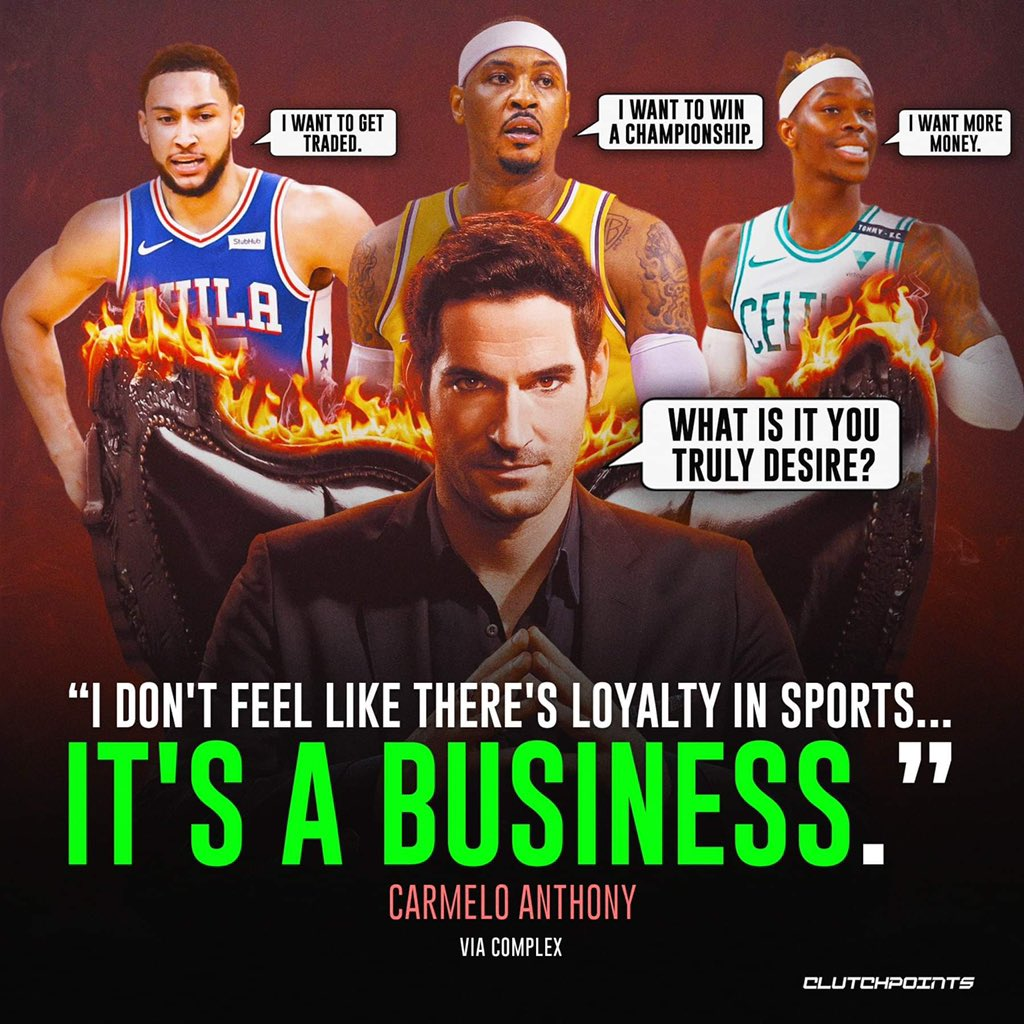 Carmelo Anthony sees the NBA as a business without the need for loyalty. Is the Kobe, Michael Jordan, Larry Bird, Magic Johnson loyalty era over? 😢