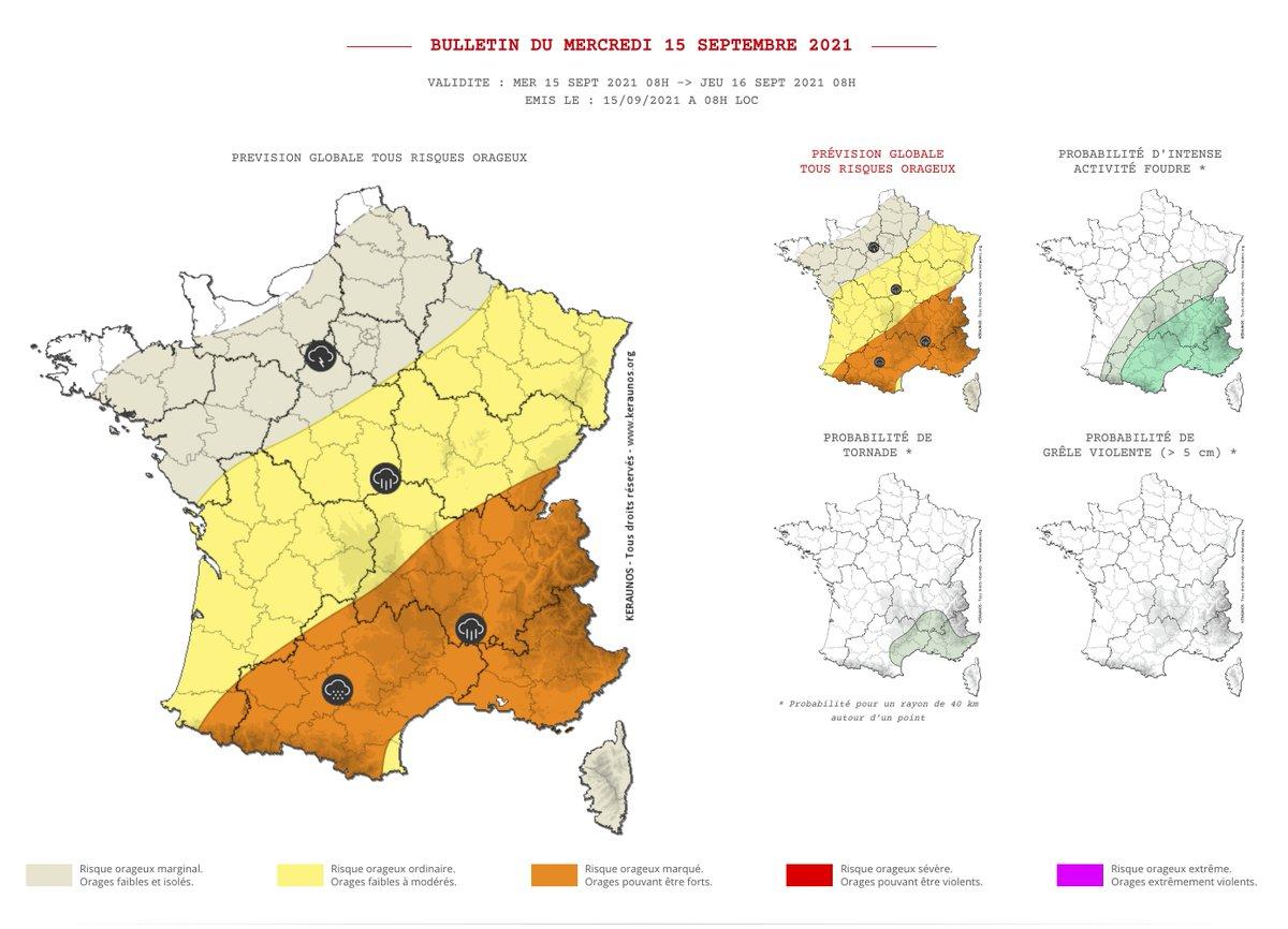 Un temps orageux se maintient sur la #France ce mercredi avec des #orages parfois très pluvieux sur le sud du pays, en particulier sur le sud-est, des #Cévennes aux #Alpes. Bulletin complet ->