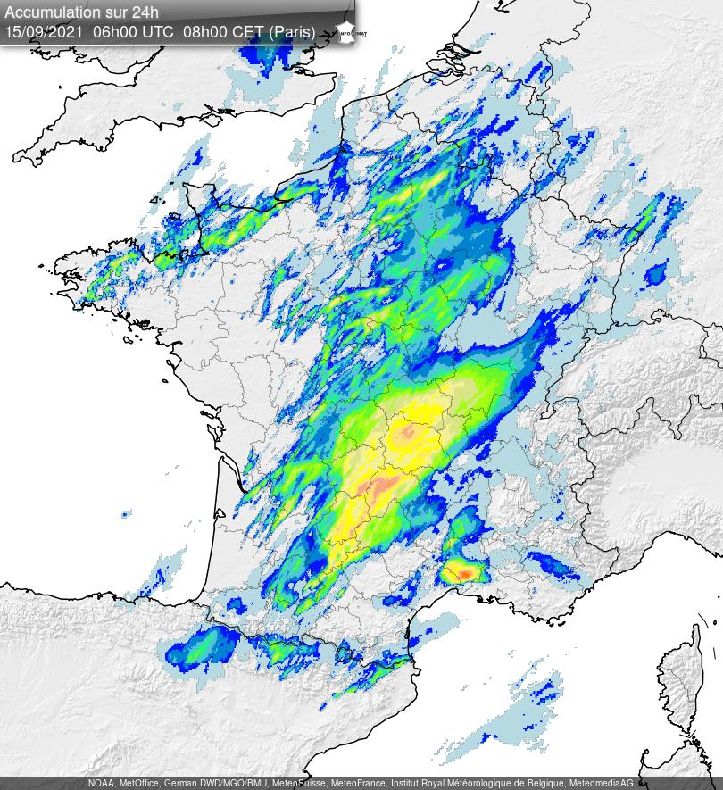 Beaucoup de pluies sous les #orages ces dernières 24h sur le Massif-Central avec localement plus de 120 mm sur le Cantal, le sud Corrèze ou le Puy-de-Dôme notamment. Carte d'estimation lame d'eau radar @infoclimat
