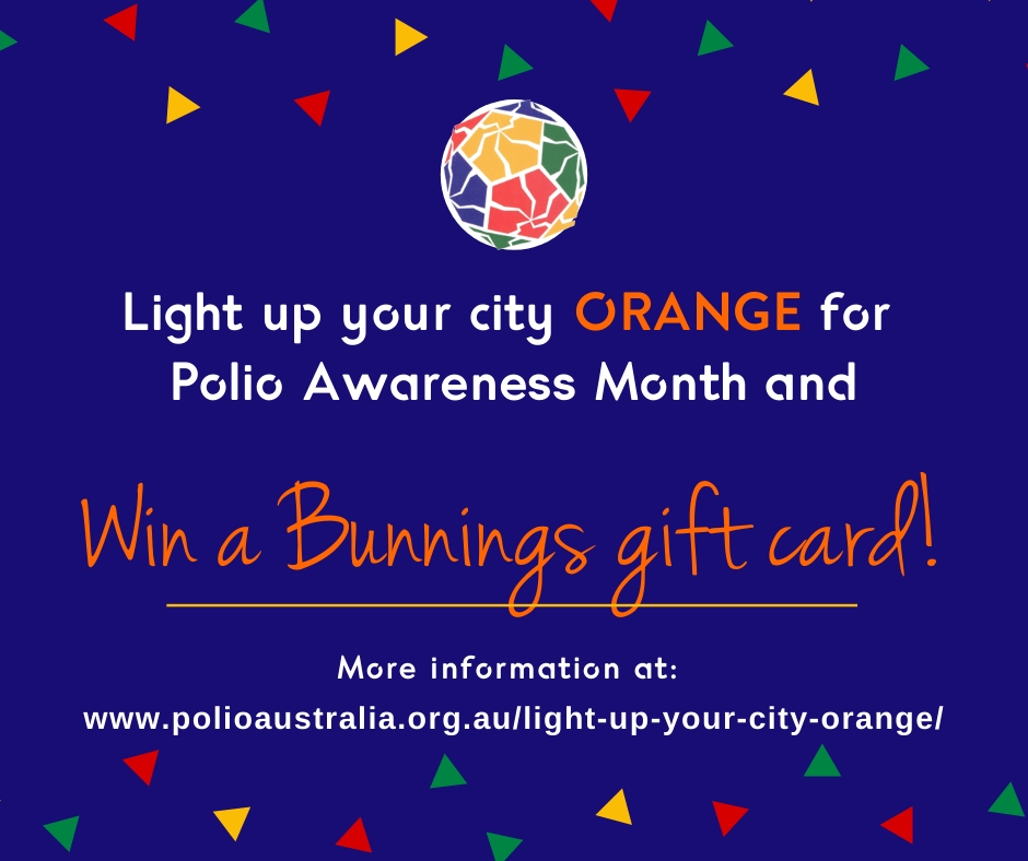 🎉 Want to win a Bunnings gift card⁉️ Ask your local council or city landmark to light up orange for Polio Awareness and you will be entered into our drawing. More information can be found at https://t.co/uhV1EsDCBo