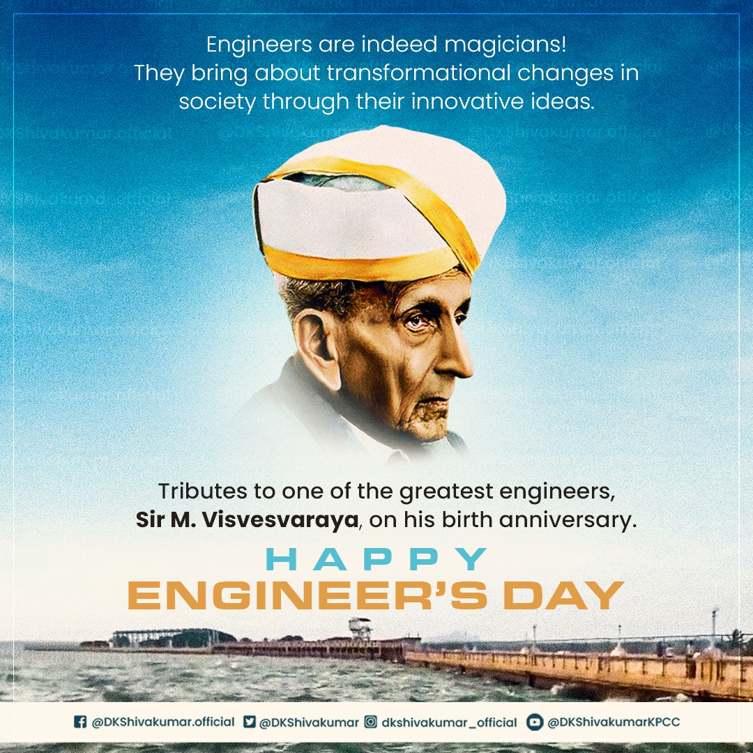 """""""Science is about knowing, Engineering is about doing.""""  Remembering Sir M. Visvesvaraya, the country's engineer par-excellence and Bharat Ratna, whose accomplishments contributed to making India stronger.  My best wishes to all our hard working engineers on #EngineersDay. https://t.co/CxRKrGsHW9"""