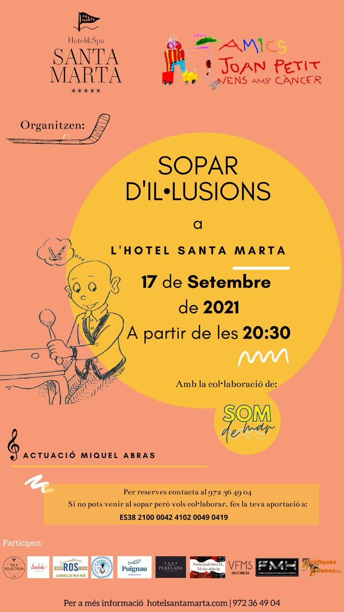 """test Twitter Media - """"Sopar d'Il·lusions"""" organitzat per Fundació Amics Joan Petit i Hotel Santa Marta   👉Sopar solidari per recaptar fons per a la investigació del cancer infantil  📅 17/9/21 a partir de les 20.30h  📍Hotel Santa Marta   🔗https://t.co/slP5g5PKb5 https://t.co/xOBAxYM9mA"""