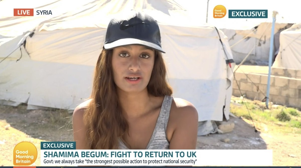 Interesting times we live in when an ISIS terror bride is allowed to exercise her right to freedom of speech on @GMB but I wasn't…. 🧐