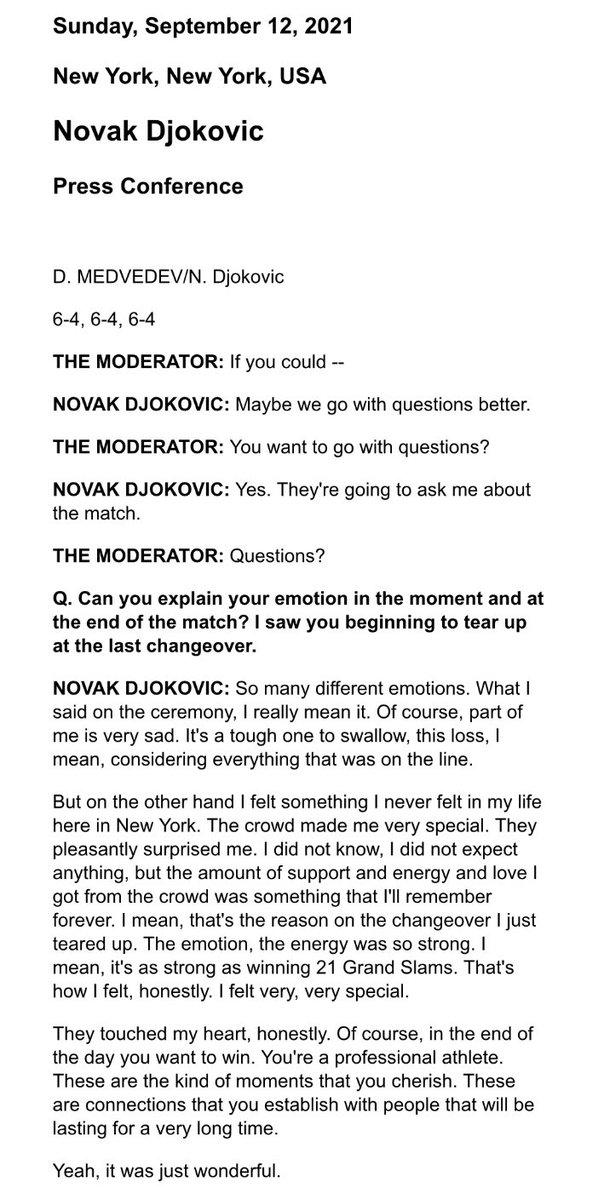 #Djokovic Ağladı twitter.com/Eurosport_TR/s… Hiç bir beklentim yoktu, ama seyircinin verdiği destek, enerji, sevgiyi ömrüm boyunca hatırlayacağım. Molada bu yüzden ağladım. Duygu, enerji çok güçlüydü. 21 slam kazanmak kadar güçlüydü. Dürüstçe hissettiğim buydu. Çok çok özel hissettim