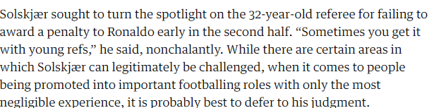 Solskjær's going to need some Aloe Vera to deal with this burn from the Guardian.