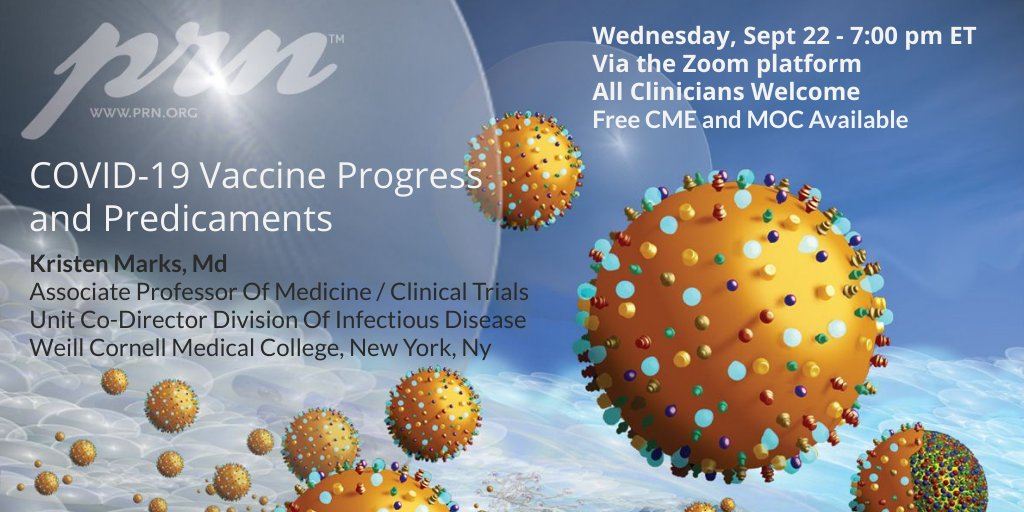 Kristen Marks provides an update on COVID-19 vaccines, including boosters, adverse events and common management questions. Open to all clinicians via Zoom. CME and MOC available.   Register here: prn.tiny.us/yf2hex24 #medtwitter #IDtwitter #covid