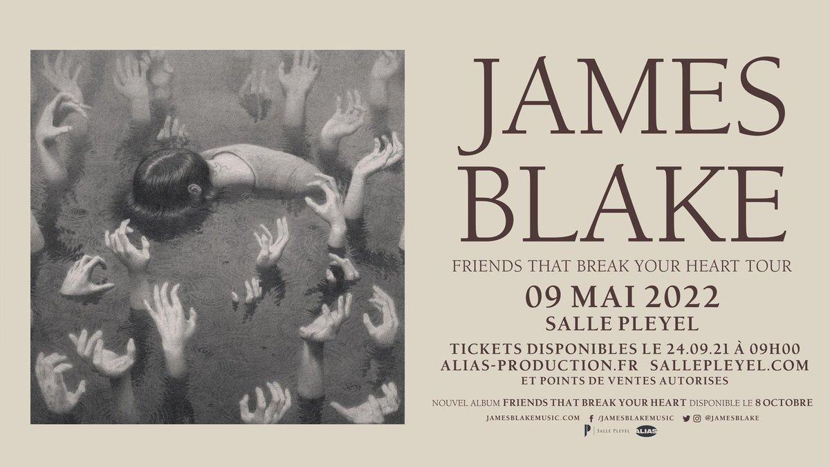 ️[ ANNONCE ]️ JAMES BLAKE - LUNDI 9 MAI 2022   @jamesblake présentera son nouvel album« Friends That Break Your Heart » sur la scène de la @sallepleyel !    MISE EN VENTE : 24/09 - 09h https://t.co/a