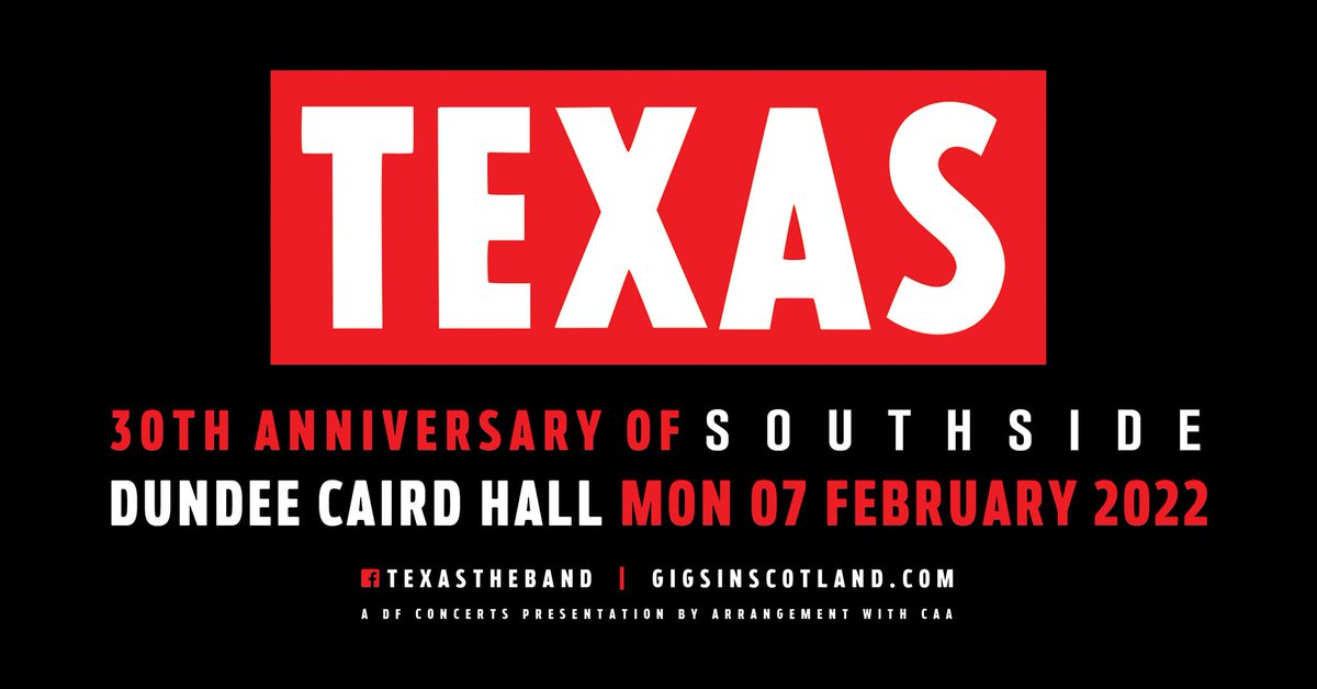 🚨 Pre-sale tickets for our show at @CairdHallDundee are on sale now! 💥Sign up to @gigsinscotland to access: gigsinscotland.com/artists/texas 💥General sale starts at 10am tomorrow: texas.lnk.to/texasTW