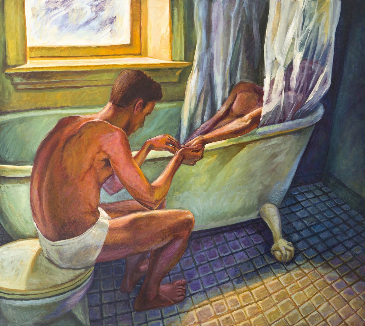 """Thinking abt hugh steers; how he painted 10 hours/day in his kitchen in nyc until his death at 32 in 1995, gorgeous paintings he called """"conjurings"""" showing acts of intimacy b/w lovers, how he never found true romance, how in his late paintings he wore high heels and could fly"""