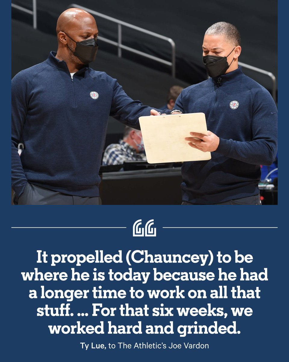While the NBA was paused, Chauncey Billups' home became a six-week coaching camp conducted by Ty Lue. Behind all the laughs and jokes, something more significant was happening. Billups was beginning to love, and understand, coaching. ✍️ @jwquick 📚 bit.ly/39alm7W