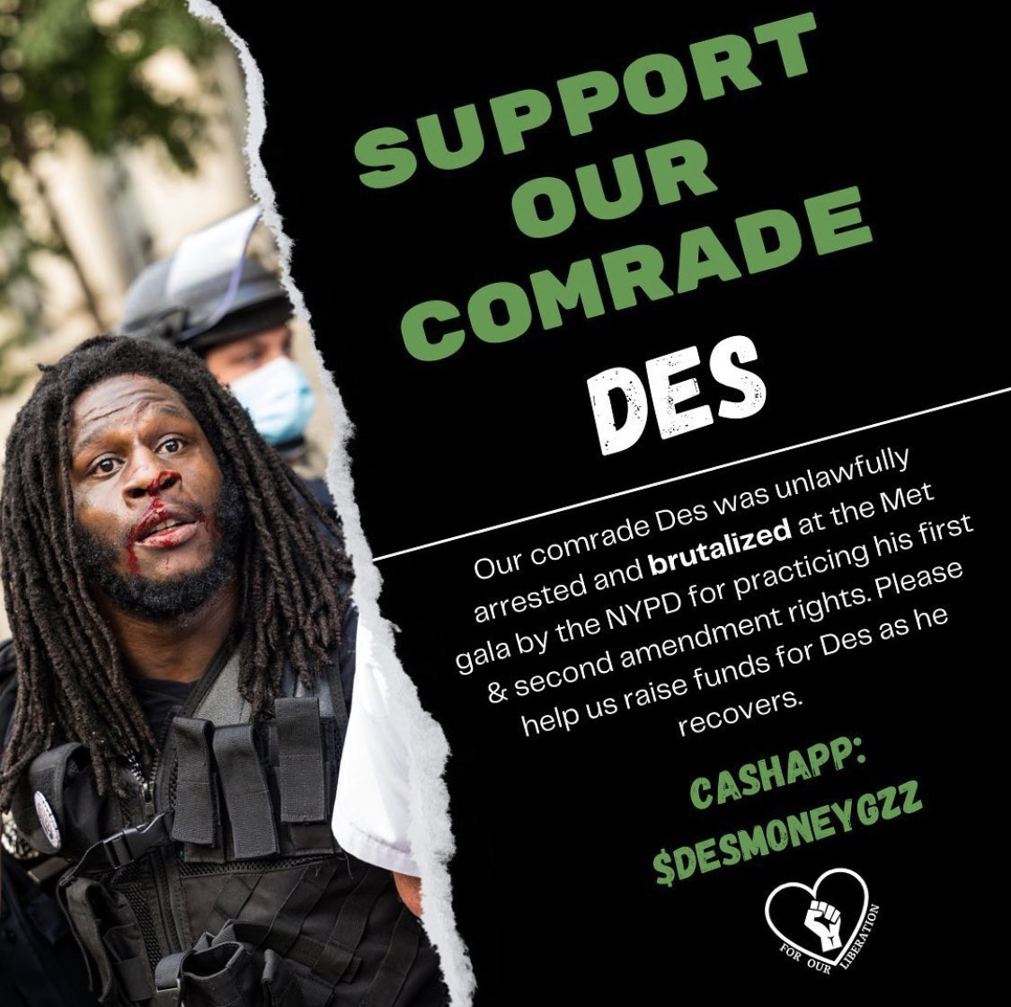 Yesterday, Des was brutalized by NYPD — and he needs our help