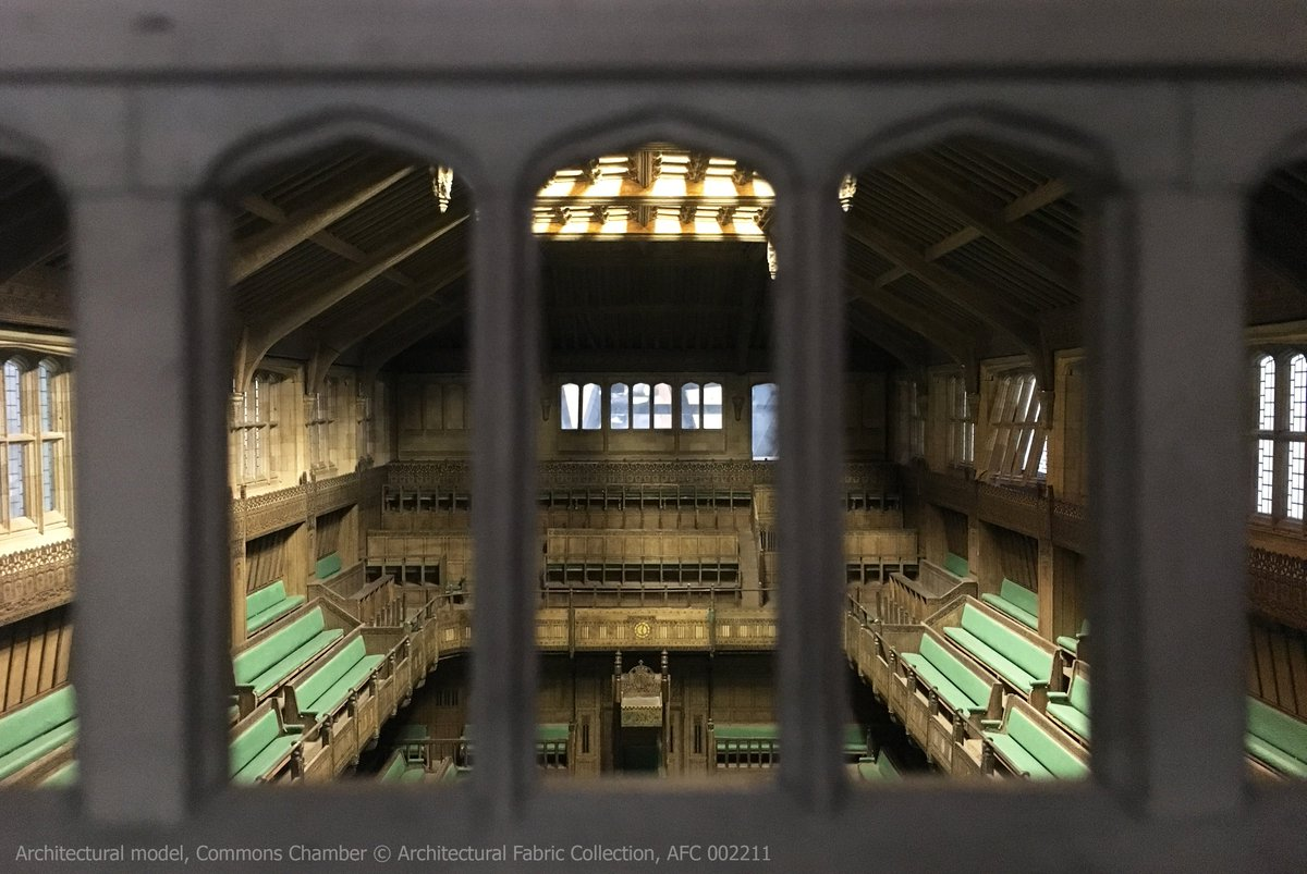 Sophie: I love this architectural model of the Commons Chamber. Thought to be made by John Leslie Thorp of Thorp Modelmakers, it looks unsuspecting from the outside, but opens to reveal an amazing level of detail considering the scale. It even comes with a set of miniature MPs!