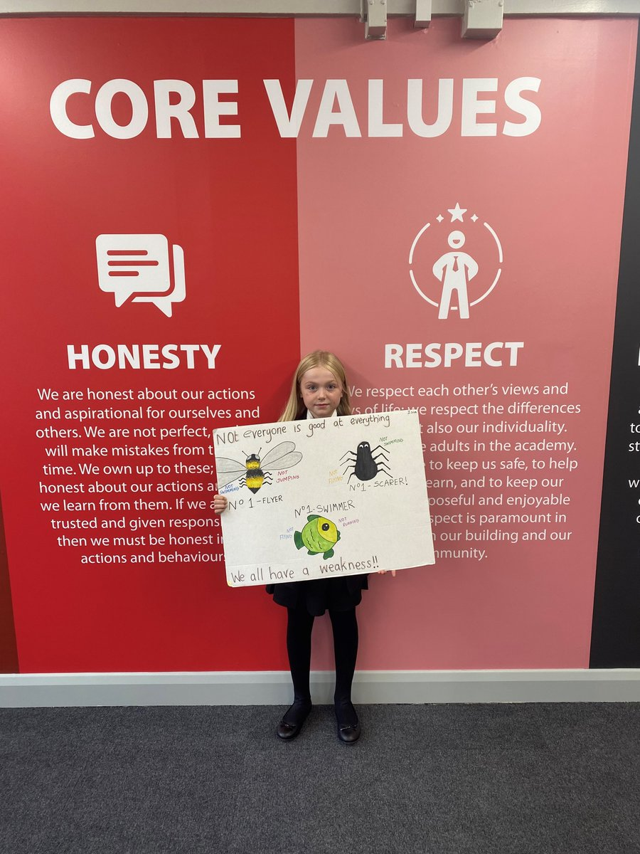 """We absolutely love this poster that Isla created based on the motto her form group, 7SEN, came up with ☺️ """"Not everyone is good at everything. We all have a weakness."""" ❤️💬 We're super proud! 🐝🕷️🐟"""
