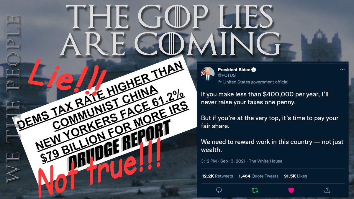 To protect the low taxes & lax enforcement enjoyed by their wealthy elite benefactors, the GOP will try to scare you  Nothing in #BuildBackBetter will raise your taxes, unless you make more than $400K/year  #wtpBLUE @wtpBLUE #wtp1001 https://t.co/KJEmMYzUke