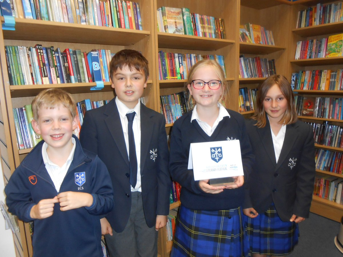 Well done to James H, Edward K, Florence WW and Hinny GS for taking part in the @BudleighLitFest school quiz this afternoon!  They did really well, answering questions about topics including visiting authors, Tom Gates, Jacqueline Wilson and emojis! #quiz https://t.co/JX9CjwLmlF