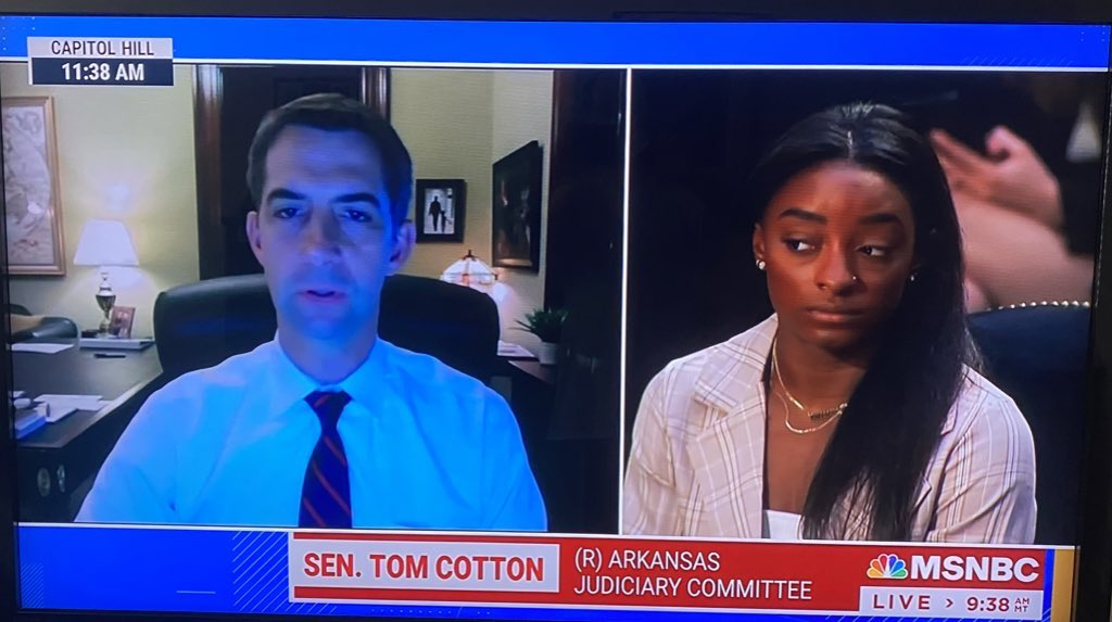 Pretty sure Simone doesn't want to hear from Tom Cotton's racist ass