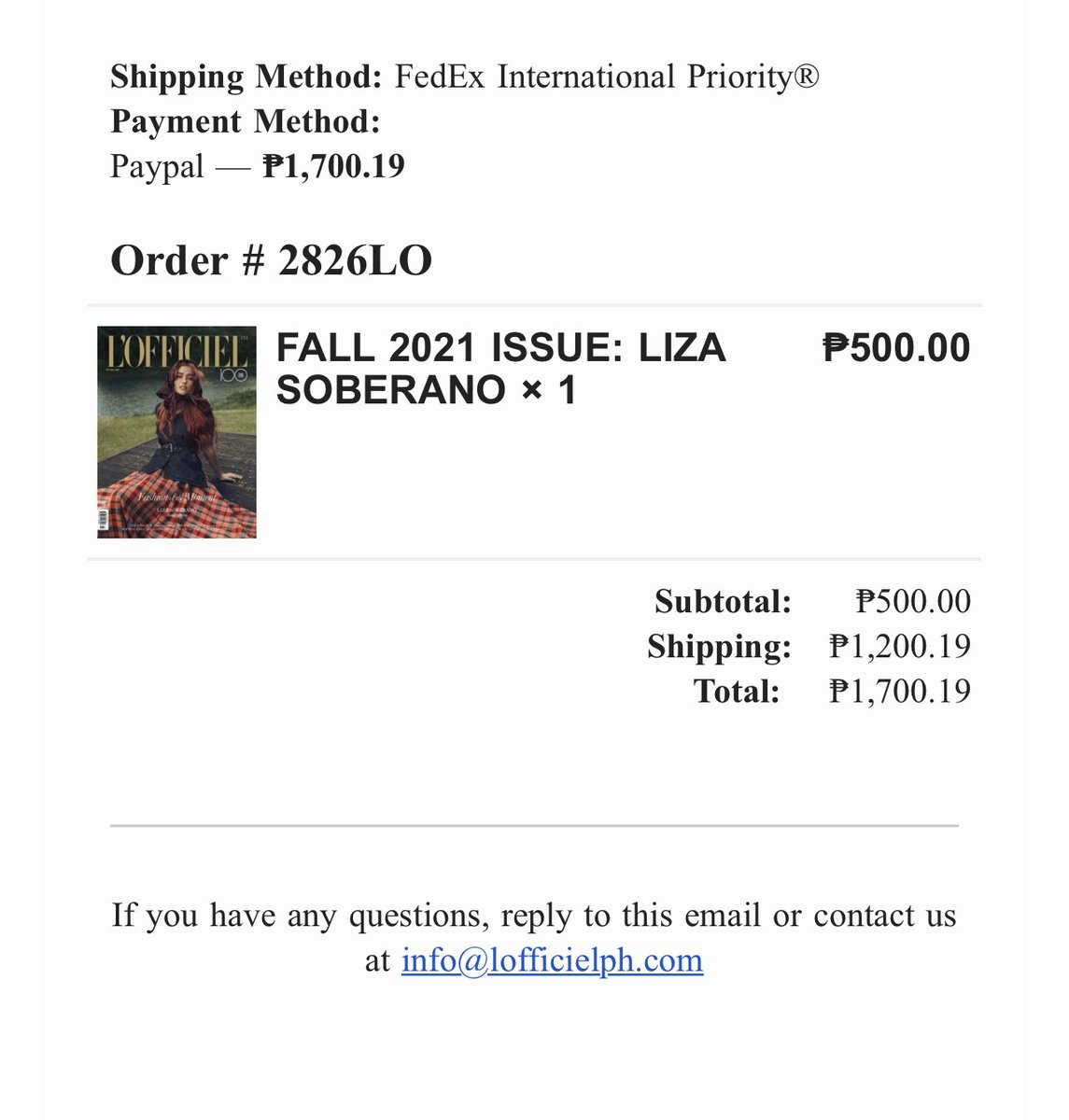 The shipping certainly cost more than the mag but for @lizasoberano , this is all worth it!