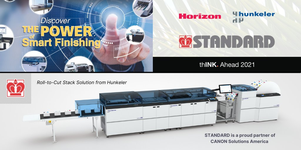 The Standard team is proud to participate in #thINKAhead2021 as a Founding Platinum Partner. We look forward to face-to-face meetings with customers, prospects and the Canon community Oct 11-15, and to presenting exciting new @hunkelerag and Horizon International technology.