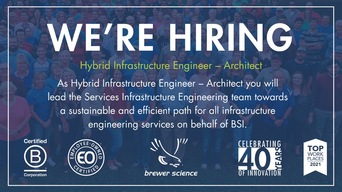 test Twitter Media - Brewer Science is looking for a Hybrid Infrastructure Engineer Architect to lead the Services Infrastructure Engineering team. Learn more about the position and other current job openings by visiting : https://t.co/GdOO2WMGy7 #JobOpportunity #WorkHere #RollaMO #WeAreBCorp #BCorps https://t.co/bclaGthPHI