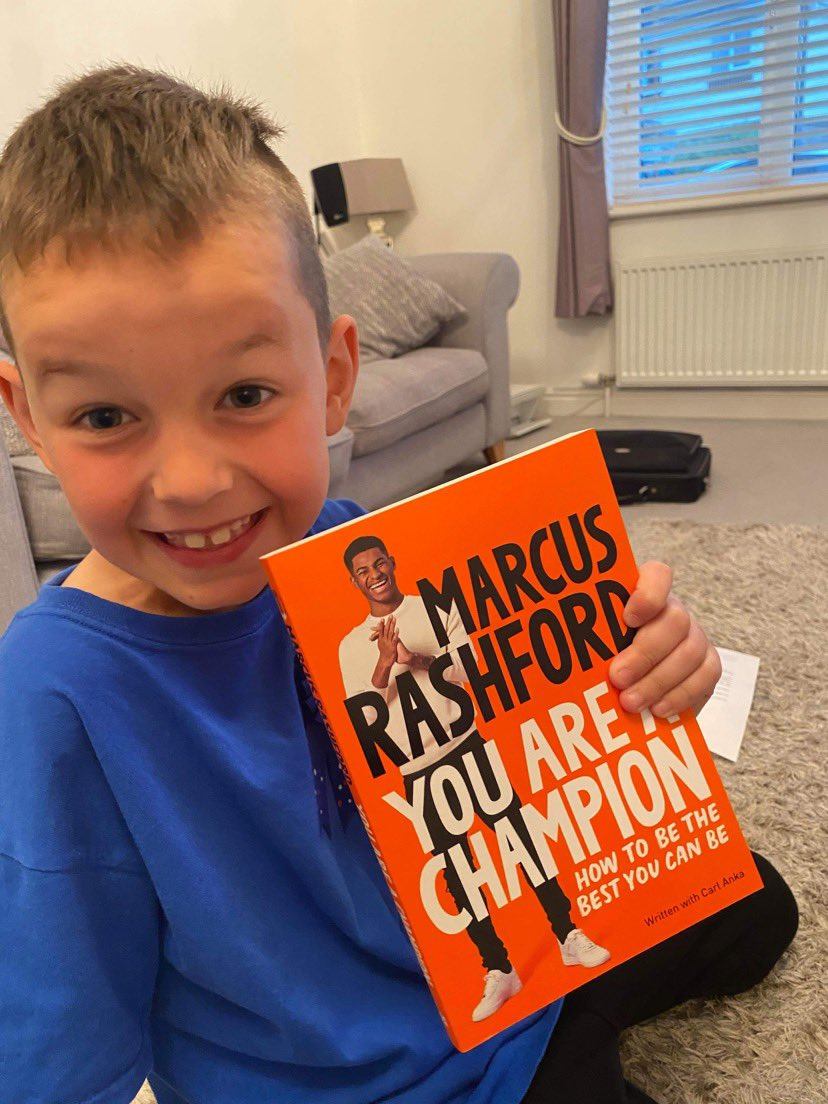 Someone was very excited to receive @MarcusRashford book for his 8th birthday today. Encouraging him to be the best version of himself.