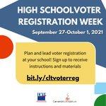 Image for the Tweet beginning: HS voter registration week is