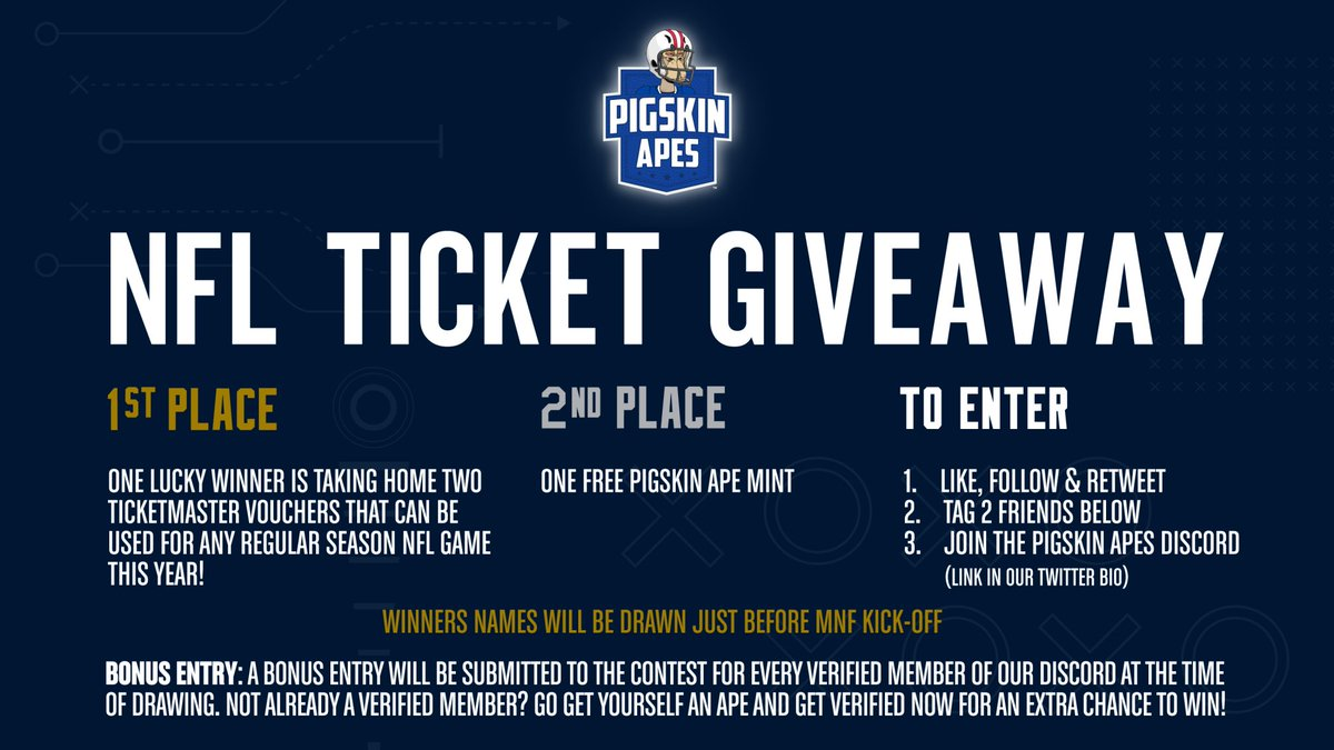 It's time for a giveaway and we're starting Week 2 of the NFL regular season with a BANG! 💥 Thanks to our friend @DavidNelson86, we have created an epic giveaway including a grand prize of two Ticketmaster vouchers that can be used for ANY NFL game this year! How to enter: