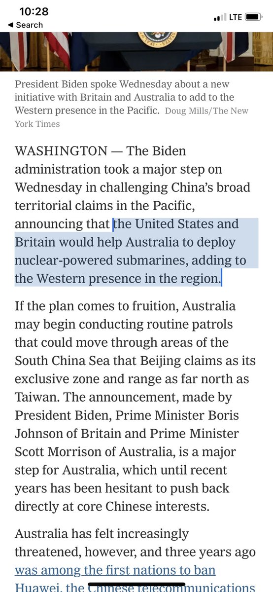 """This is an insane escalation by Biden. Giving Australia nuclear powered submarines to deploy to the South CHINA Sea is NOT defensive, it's a provocation. Imagine if China gave Cuba submarines to deploy around the Gulf of Mexico for """"defensive"""" purposes!"""