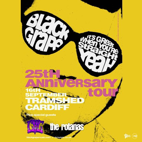 TONIGHT… Black Grape play @TramshedCF with guests @CVCband_ + @TheRotanas!! Tickets: tramshedcardiff.com/event/black-gr… #BlackGrape #ShaunRyder #KermitLeveridge #CVCband #TheRotanas #Tramshed #Leeds #Gigs #Tour #Livemusic
