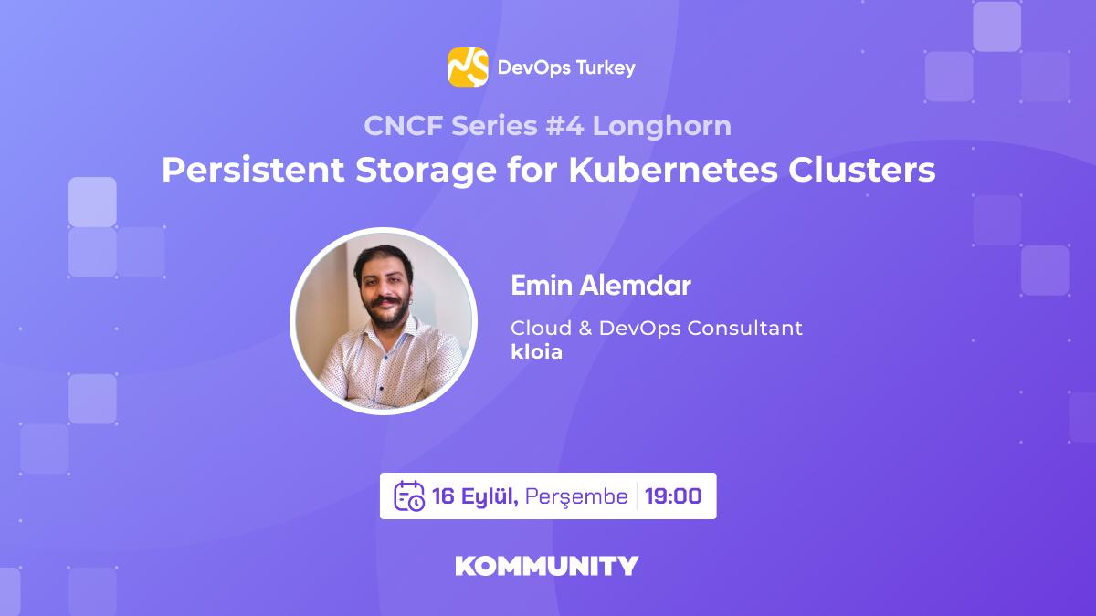 Bugün, DevOps Türkiye'nin CNCF serisinde Kubernetes ve Konteynerler için Persistent Storage konuşuluyor📢  Katılmak için: kty.li/9u2lY