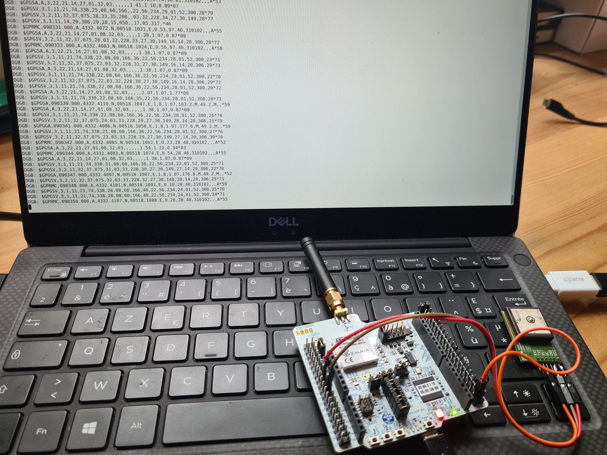 Nucleo-WL55JC1 with STM32WLE5 running #tinygo. Not far from sending GPS location to #LoRaWAN things network.