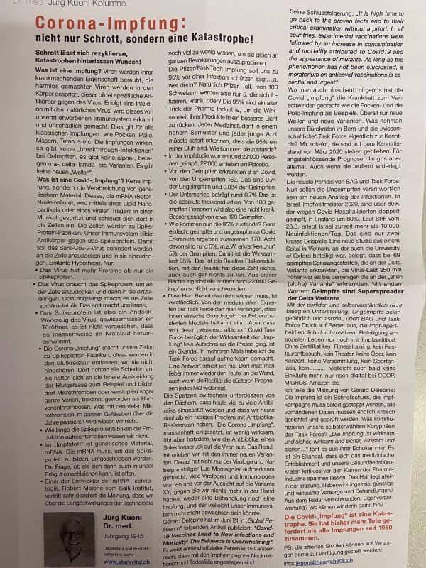 Bericht von einem Arzt in der Schweiz https://t.co/YenE5CJ1iH
