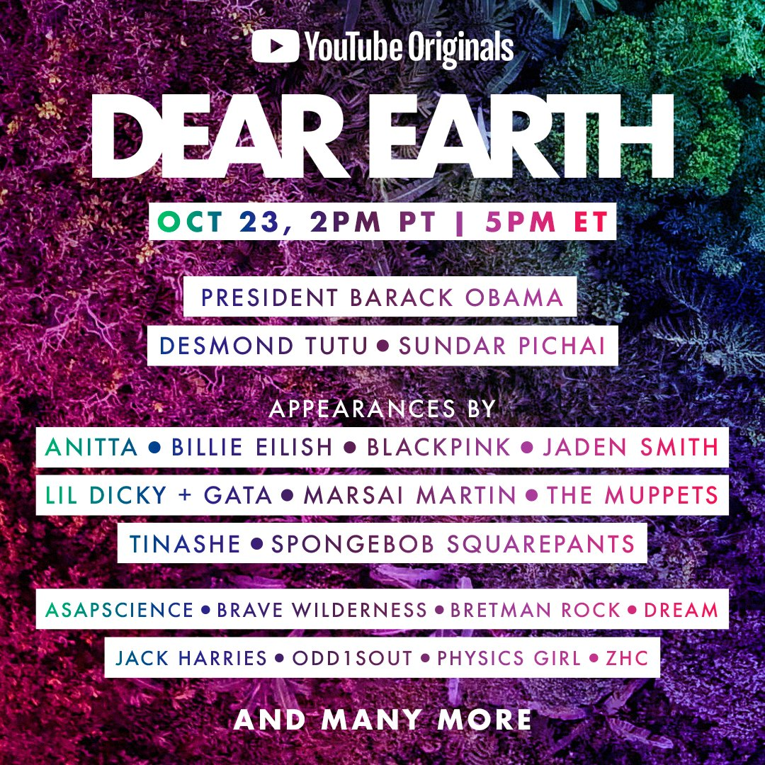 Dear Earth is a global celebration of our incredible planet with inspirational addresses, musical performances & appearances from yourfavoriteglobal leaders, celebrities & creators. I'm gonna be there! ❤️ Don't miss the premiere on Oct 23https://t.co/48oDEsuDfl https://t.co/N4ExIHNSJf