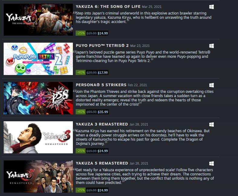 (PCDD) SEGA Sale via Steam.