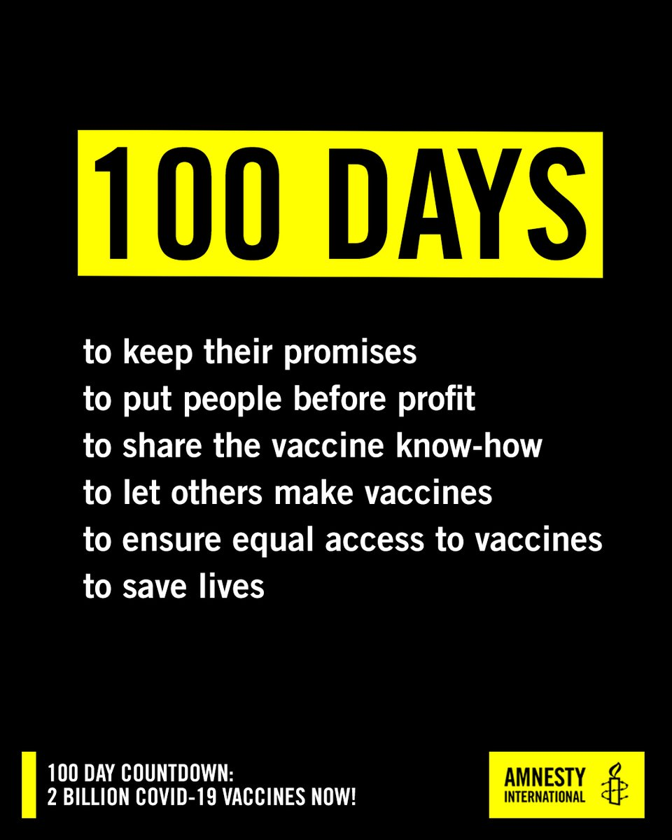 Vaccine developers in 2020: ✅committed to help vaccinate the world. Vaccine developers in 2021: 🛑Prioritize rich countries 🛑Block sharing of vaccine technology 🛑Protect profits and patents over people #100DayCountdown⏰