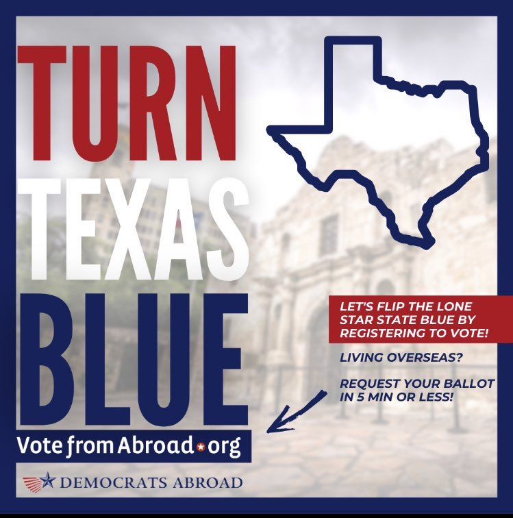 @Eleven_Films One of the reasons we're working so hard to #TurnTexasBlue! Our American votes from overseas were the margin of victory in AZ and GA, and we can help flip Texas too! #demsabroad #VoteBlue2022 #votefromabroad #removeabbott https://t.co/u8JnaEToMz