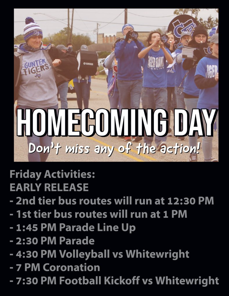 Tomorrow is the big day! Homecoming 2021! Please don't forget that we have an EARLY RELEASE DAY. 2nd Tier bus routes will run first (12:30 PM), and then 1st tier will run at 1:00 PM. The event schedule is listed in the graphic, don't miss out! https://t.co/qrWiyDmUf5