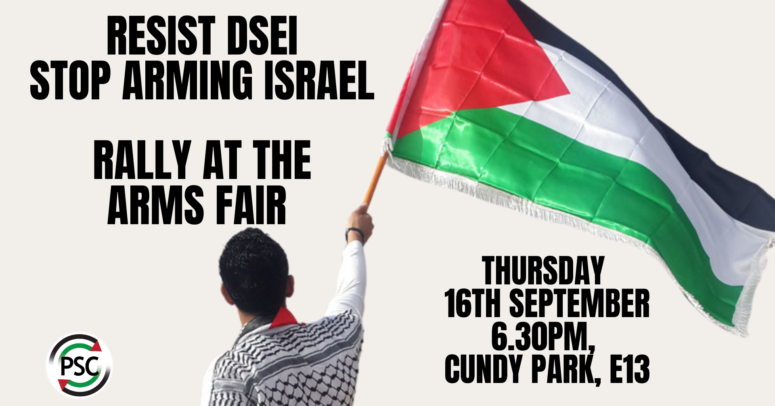 Join @PSCupdates again this evening at 6:30pm for a rally in Cundy Park, Newham, led by Palestinian voices with speeches, spoken word & creative performances #StopArmingIsrael #stopDSEI  (Cundy Park is opposite the arms fair - use Custom House or Prince Regent DLR)
