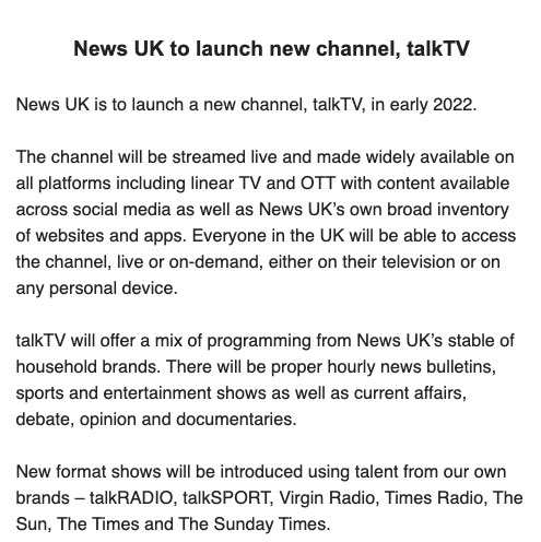 """Rupert Murdoch's News UK to launch a new TV news channel - with """"proper hourly bulletins"""" and sport, entertainment - next year:"""