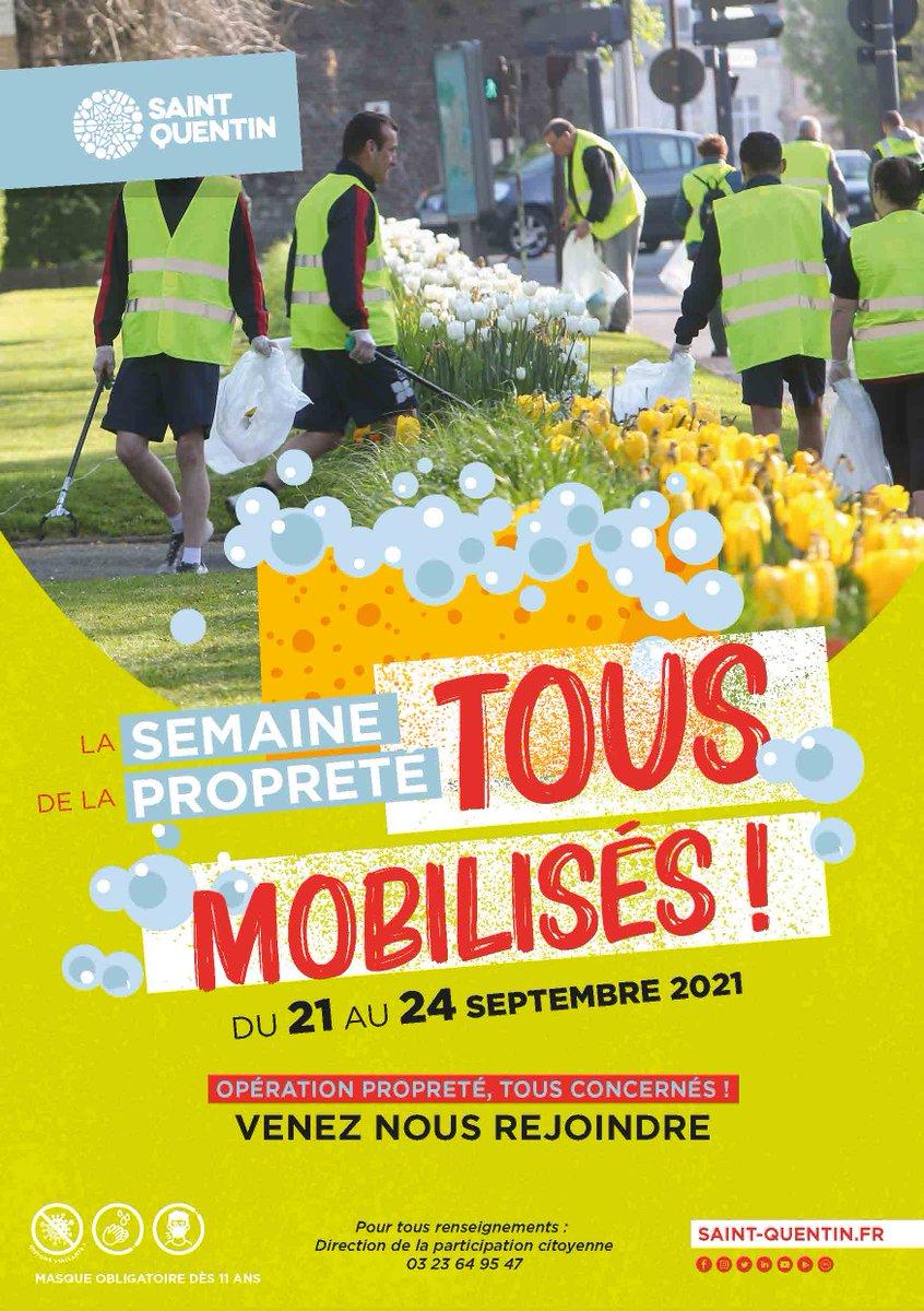 À l'occasion de la semaine du #DéveloppementDurable, la ville de Saint-Quentin lance en partenariat avec ses habitants, une opération #propreté dans l'ensemble des quartiers de la ville Du 21 septembre au 24 septembre 2021ℹ️ Plus d'infos sur saint-quentin.fr https://t.co/7j2aDMhARl