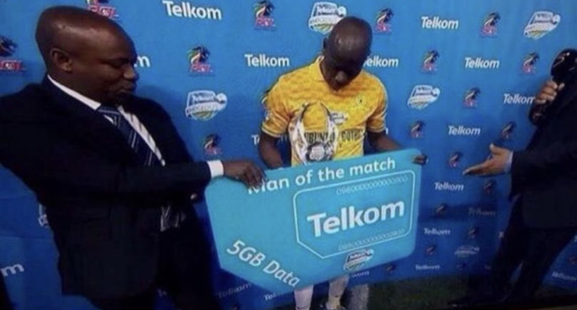 South African premier league MOTM wins 5gb of data. Incredible.