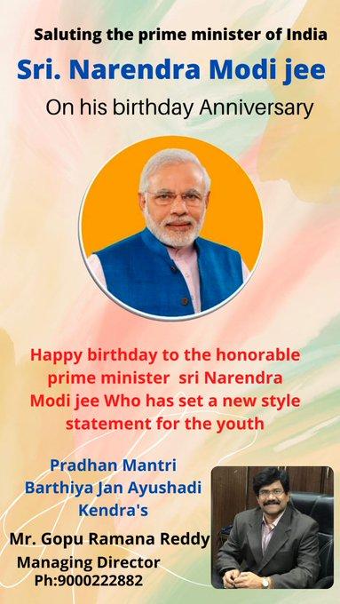 Happy Birthday to our Hon\ble Prime Minister of india Shri Narendra Modi jee