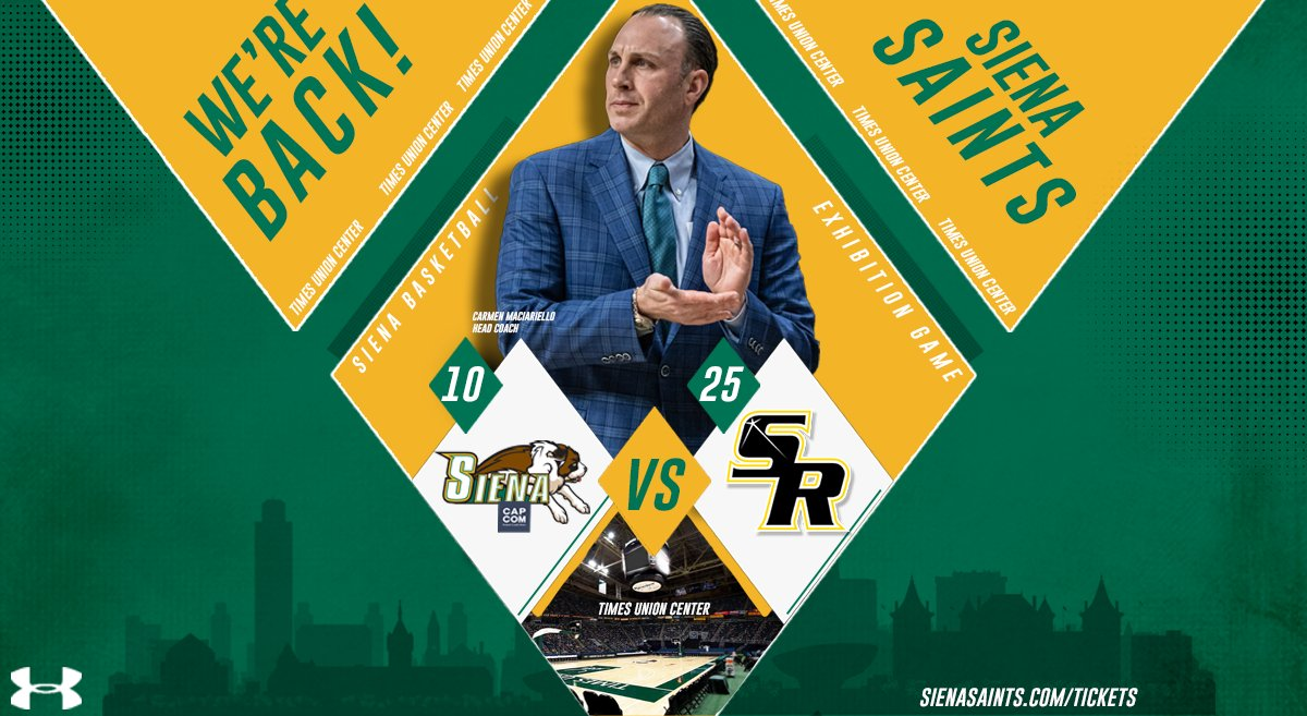 🔑 𝘼𝙇𝙀𝙍𝙏 @SienaMBB will host Capital Region foe St. Rose in an exhibition matchup on Oct. 25 at the @TUCenter 📰 bit.ly/2XopizN 🎟️ on sale 𝐍𝐎𝐖 ➡️ bit.ly/3hEhL6H #MarchOn | #SienaSaints | #MAACHoops | #NCAAM | #Attack | #Finish | #EAT
