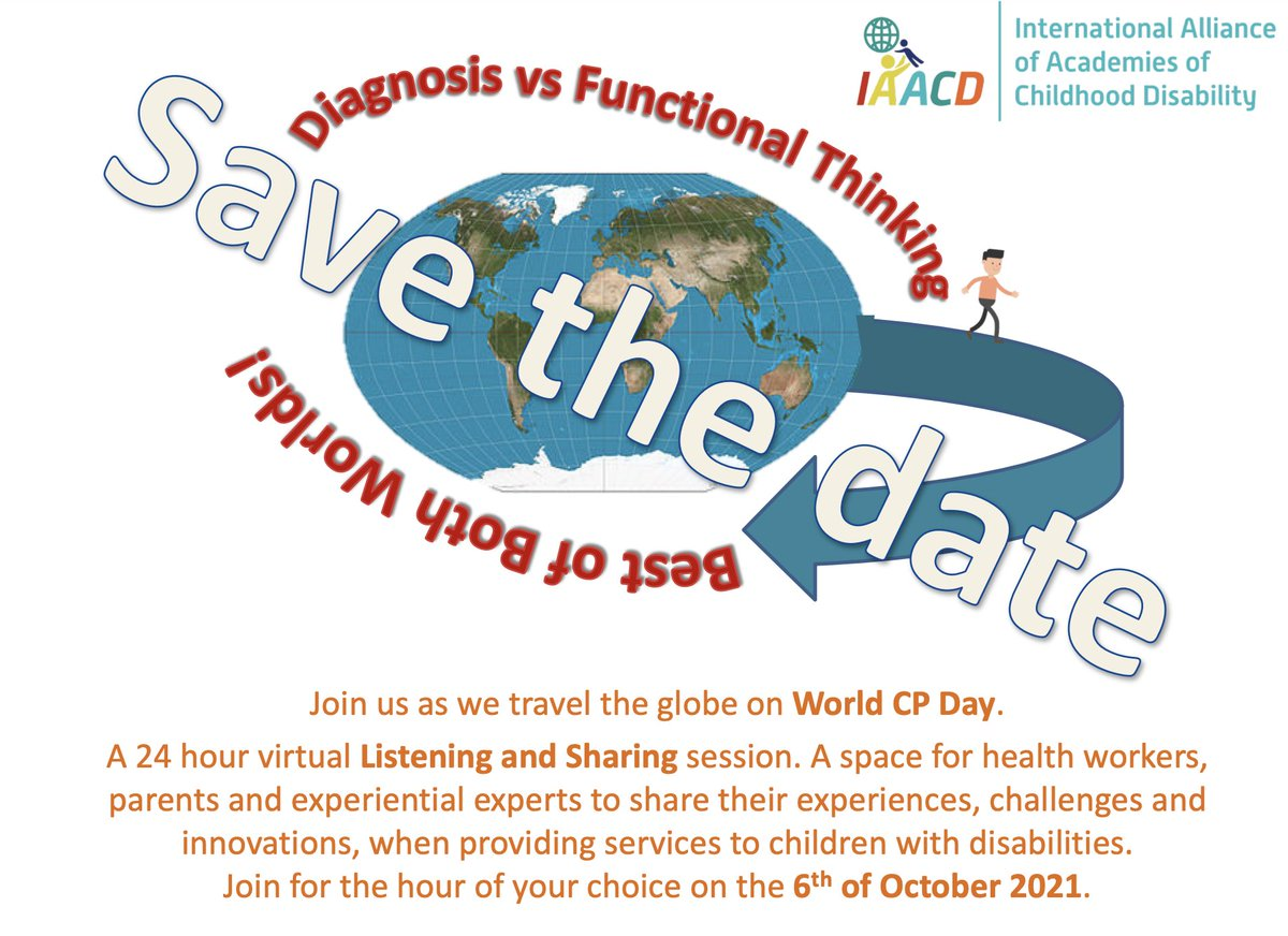 """Don't miss out on the @IAACDtweets  #WorldCerebralPalsyDay 24hr Listening & Sharing sessions 6th Oct on the topic """"Diagnosis vs Functional thinking"""". Register now for the @AusACPDM session, 430pm AEST.  #MillionsofReasons https://t.co/URkEe2jOWN"""