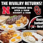Get here early for the Nebraska vs Oklahoma game this Saturday! All DJ's locations will open at 10am ahead of the 11am Kickoff! Stop in for breakfast & get ready for the game! 😁🏈