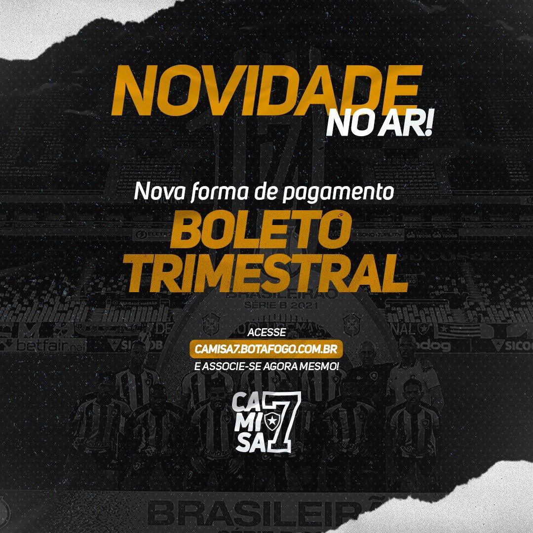 Agora o pagamento do sócio do Botafogo pode ser feito através de boleto. O programa já conta com mais de 17 mil botafoguenses associados. #BotaENM