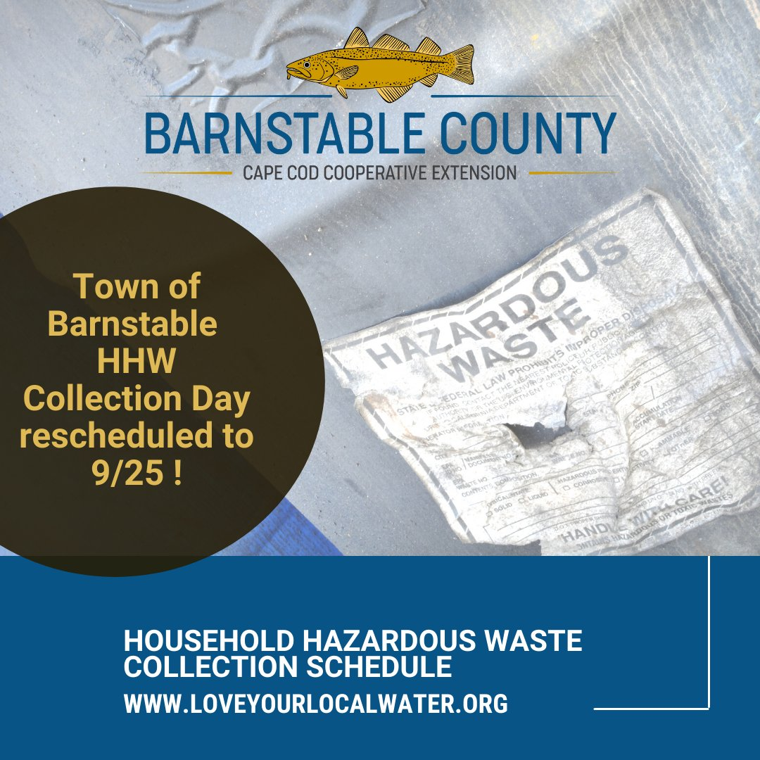 🚨Town of Barnstable residents - your HHW collection has been rescheduled a week. More time to gather your items! See ⬇️ for details. #cleanwaters #healthyecosystems #loveyourlocalwater