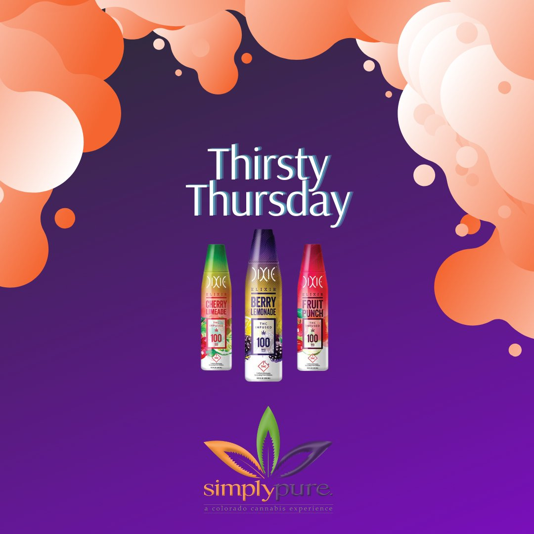 SimplyPureMJ: 🍹🌿Purests, it's #ThirstyThursday which gets you any @DixieBrands drink for just $2⃣0⃣! Try mixing with sparkling seltzer for a fizzy refresher!🍋  #Denver #dispensary #ThursdayThoughts #cannabis #edibles #cannabisindustry #CannabisCommunity #BlackOwned #WomanOwned #IAmAPurest💚