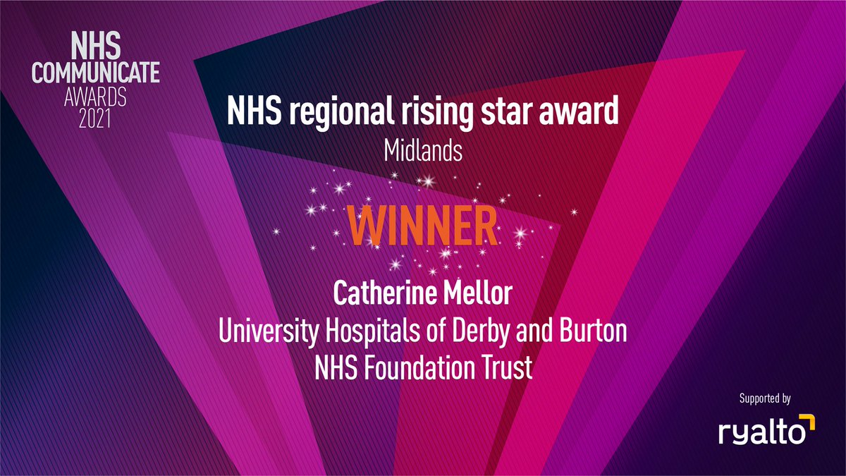 Congratulations to @CatherineMell0r at @UHDBTrust for winning the NHS Regional Rising Star Award: Midlands! Well done to you!🎉 #NHSCommunicate