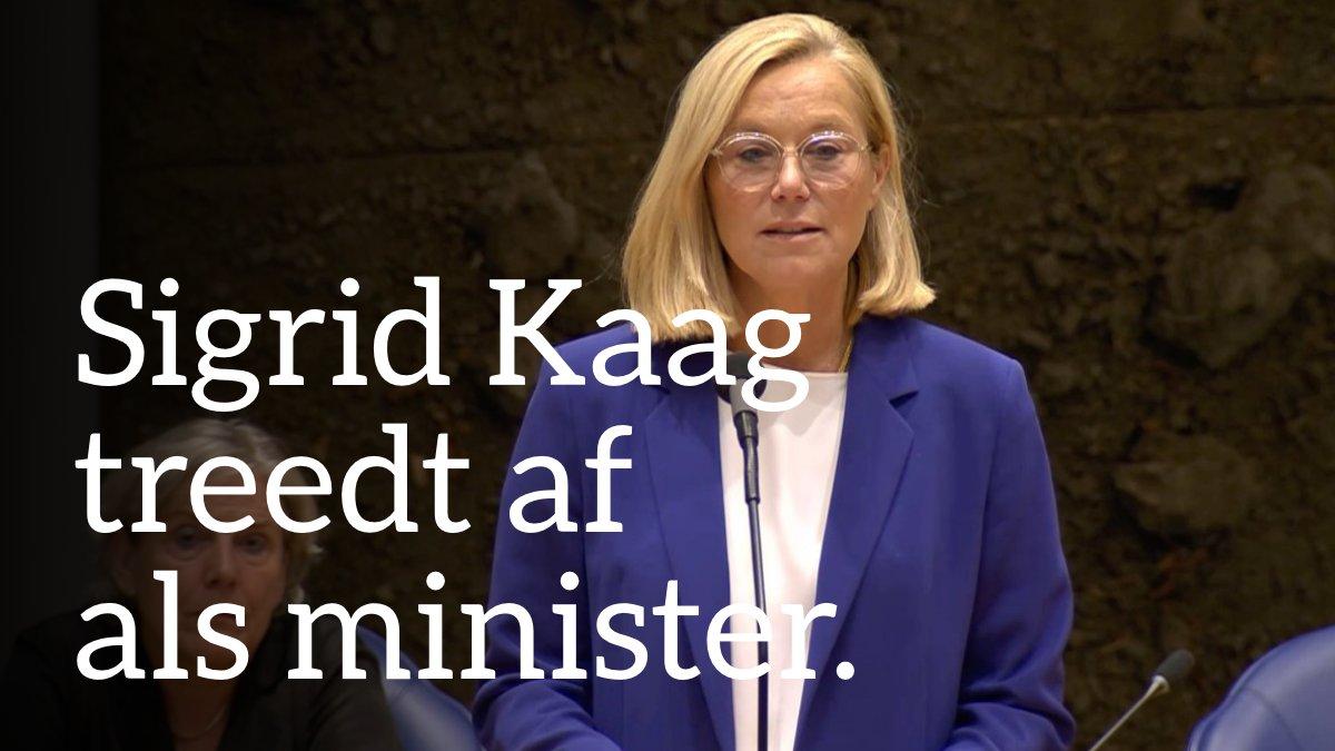 Image for the Tweet beginning: Sigrid Kaag treedt af als